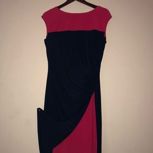 Chaps red and navy dress